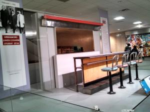Section of the Greensboro, NC Woolworth's lunch counter, as displayed at the Smithsonian National Museum of American History. 1/2015