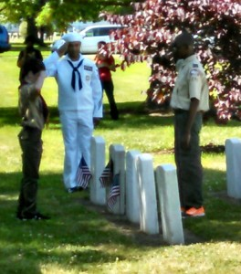 Salute at the placing of the flags.
