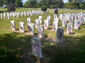 Flags placed on markers.